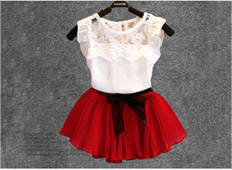 Wholesale Chinese White Coat - Summer girl fashion clothes suit white shirt+skirt 2 pieces kids popular bowknot clothing for 1~7Y 5 s l