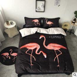 Wholesale Cartoon Animal Pillowcases - Cartoon Flamingo Bedding Sets Winter Velvet Flannel Duvet Covers for Twin Queen Size 4pcs Bedding Duvet Cover Sheet Pillow Cover Pillowcase