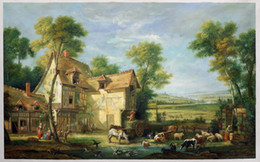 Wholesale Canvas Paintings For Christmas - The Farm by Jean-Baptiste Oudry, Large Canvas Rococo Art for Christmas Decoration H-0191