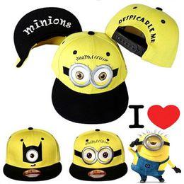 Wholesale Minion Snapback Kids Hat - 6 styles despicable me hat peaked cap unisex snapback hiphop cap children Baseball Cap minion cap for kids adults E43L