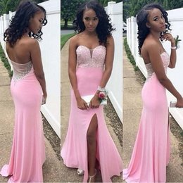 Wholesale Hot Long Mermaid Strapless - Luxury Cheap Split Side Prom Dress 2015 Sexy Hot Chiffon Sheer Strapless Formal Evening Gowns Mermaid Homecoming Bridesmaid Cocktail Dresses