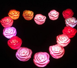 Wholesale Led Rose Floating Candles - LED Rose Light 7 Changing Colors Floating Rose Flower Night Light Candle party Lights roses love lamp birthday weeding gift Valentine's Day