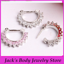 Wholesale Small Piercing Ring - factory wholesales 10pc 2 cololr choose CZ Clicker Small Hoop Septum Jewerly Nose Ring body piercing jewelry
