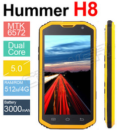 Wholesale H5 Dual Sim - 2015 New Hummer H8 Phone With IP68 MTK6572 Android 4.2 3G GPS AGPS 5.0 Inch Screen Shockproof Waterproof Smart Phone 3000MAH H5