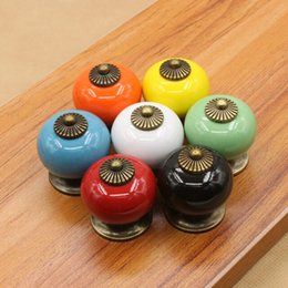 Wholesale Vintage Kitchen Pulls - 7 Colors Vintage Round Ceramic Drawer Knob Door Cabinet Cupboard Kitchen Pull Handle Hardware Handles Decoration