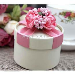 Wholesale Pink Circle Favor Box - Circle Pink Candy Boxes Wedding Candy Boxes Favor Box Gift 100Pcs Lot