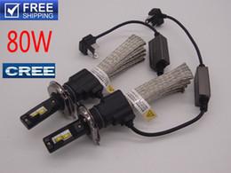 Wholesale Led Fog Lamp Kit - Wholesale upgrade kit H1 H4 H7 H11 9005 9006 80W 6000K Cree LED Headlight Fog Driving Lamp Bulb kit car styling