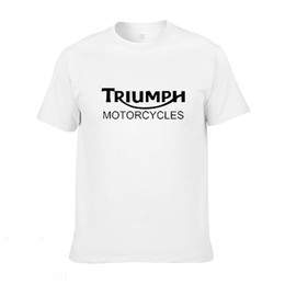 Wholesale motorcycle triumph - Wholesale-Classic TRIUMPH MOTORCYCLE T Shirt Men 100% Cotton Short Sleeve Good Quality T-shirt Top Tees New Summer