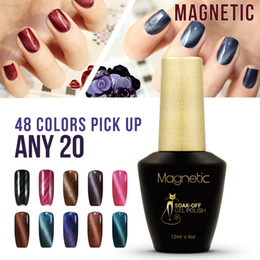 Wholesale Off Price Wholesale - Azure Magnetic lacquer Nail Art 20pcs lot Soak Off cat eyes UV Gel Varnish Lacquer Soak off Gel polish lower price 12ml free shipping