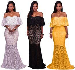 Wholesale lace dress s line plus women - Elegant Long Evening Party Dresses Women White Black Off Shoulder Ruffles Vintage Lace Maxi Dress Formal Gowns Vestidos Robe Plus Size