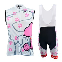 Wholesale Polyester Pile - BXIO Woman Cycling Clothes White Print Snoopy Bike Jersey Anti Piling Summer Cycling Set Wielren Kleding 021