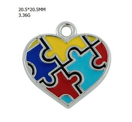 Wholesale Enamel Alloy Charms - 10pcs Zinc Alloy Material Rhodium Plated Enamel Cross Heart Cross Shape Puzzle Piece charm Autism Pendant Enameled Awareness Charm