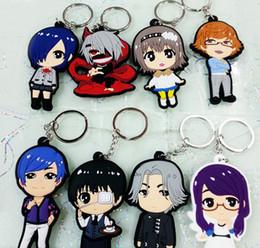 Wholesale Toy Ken - lot Tokyo Ghoul keychain Kaneki Ken Kirishima Touka JUZO SUZUYA figure PVC key Anime cosplay pendants chain free shipping 2010503LY