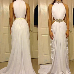 Wholesale Cheap Club Dresses Online - Sexy Split Evening Dresses Online 2016 Cheap Red Carpet Celebrity Gowns Bling Beaded Crystal White Spandex Special Occasion Dress for Women