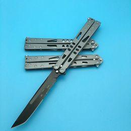 Wholesale Stainless Steel Survival Knife Blade - 3styles MT Tachyon II Stonewash blade Butterfly 440 Stainless steel Balisong survival hunting knife knives BM42 BM43 BM47 BM40 QL