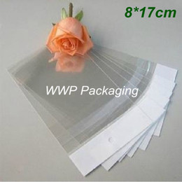 Wholesale Gusset Bags Wholesale - Hot Sale 500Pcs  Lot 8cm*17cm Plain Clear White Self Adhesive Seal Plastic Side Gusset Pouch OPP Poly Bags Retail W  Hang Hole