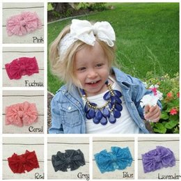 Wholesale Baby Girls Hair Ribbon - Hair bowknot lace Headbands Childrens Accessories Head Bands Infants big bows Headband For Girls Baby Headbands Baby Hair Accessories B234-2