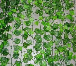viti fiorite decorative Sconti 2.4 metri Artificiale Edera Foglia Ghirlanda Piante Vine Falso Fogliame Fiori Home Decor