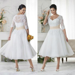 Wholesale Gold Ruched Tea Length Dress - New Plus Size Wedding Dresses With Sleeves A Line V Neck Ball Gowns Under 100 Vintage Tea Length Wedding Dress Colored Wedding Gowns