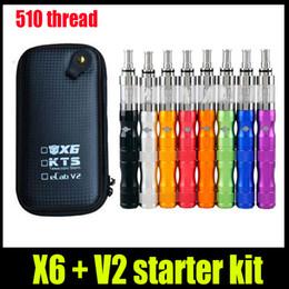 Wholesale Ego Vv Starter Kits - New X6 V2 KTS Ego E Cigarette starter Kit 1300mAh Variable Voltage VV battery V2 atomizer Tank Zipper Case vs X6 protank 2