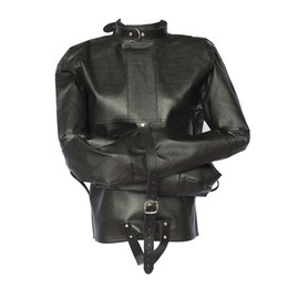 Wholesale Black Leather Gear - Wholesale-Womens Black Straight Jacket Faux Leather Strict Bondage Kinky Fancy Sexy Dress Cosplay Bondage Gear
