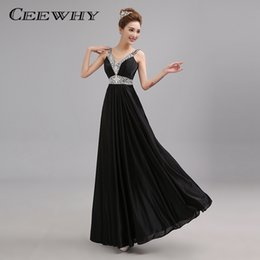 Wholesale Prom Dresses Line Sweatheart - CEEWHY Black Crystal Beading Sweatheart Floor-length Sexy Formal Prom Party Gowns Elegant Long Evening Dresses 2017 Robe de Soiree