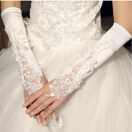 Wholesale Pearl Stock - Beaded Embroidery Lace Bridal Gloves in Stock Elbow Length Pearls Fingerless Ivory White Bridal Gloves For Wedding