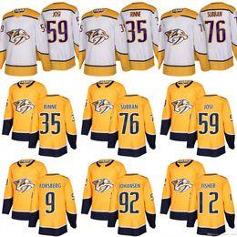 Wholesale Jersey 76 - 2017-2018 Nashville Predators 76 PK Subban 35 Pekka Rinne 12 Mike Fisher 9 Forsberg 35 Pekka Rinne 59 Roman Josi 92 Johansen Hockey Jersey