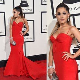 Wholesale Ariana Grande Dresses - Ariana Grande 2016 Grammy Awards Evening Dresses Red Mermaid Evening Gowns Covered Button Spaghetti Satin Celebrity Dresses 6695