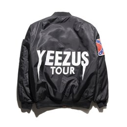 Wholesale American Pilots - KANYE MA1 Men Bomber Pilot Jackets American Civil War Flag hip hop Jacket Coats M-XXL For Autumn Winter