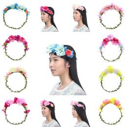 Wholesale Hawaii Wreath - Trendy Women Flower Garland Floral Bridal Headband Hairband Wedding Hawaii Girl Head Flower Crown Head Wreaths Hair Accessories 5SFG3