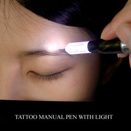 Wholesale High Quality Permanent Makeup Pen - High Quality Multifunction Microblading Tattoo Manual Pen With LED For Permanent Makeup Tattoo Eyebrow Accessories tools Set