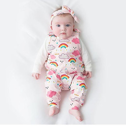 Wholesale trendy jumpsuits - Infant Baby Romper 2018 Cotton Sleeveless Rainbow Rompers Jumpsuit Trendy Climb Clothes Kids Jumpsuit Baby Clothing Baby Girl Clothes 0-24M
