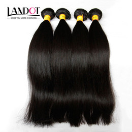 Wholesale Malaysian Silky Straight - Malaysian Silky Straight Hair Unprocessed 8A Human Hair Weave 4 Bundles Lot Malaysian Straight Hair Extensions Natural Black Double Wefts
