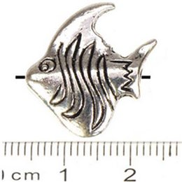 Wholesale Fishing Cone - Jewelry Findings Fish Beads Bracelets DIY Charms Bead Flat Animal Double Antique Silver Metal Free Ship Fashion Wholesales 18*17*5mm 50pcs