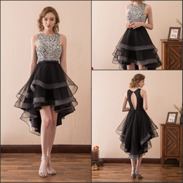 Wholesale High Low Special Occasion Dresses - Elegant Beads High Low Prom Dresses Gowns Club Wear Sleeveless Crystal Short Homecoming Black Stock 2-16 A-Line Party Dress Formal Ball