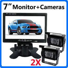 "Wholesale Lcd Video Monitor Kit - 7"" Car Monitor Truck Video Monitor Rear View Kit 2pcs IR Night Vision Waterproof Reverse Camera 10M 20M Video Cables for Bus Truck"