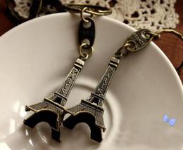 Wholesale Eiffel Key Chain - NEW Hot fashion Cartoon movie Key Chain 5cm high Vintage MINI Eiffel Tower Alloy keychain wedding favors keychan cc40