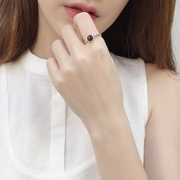 Wholesale Carnelian Sterling Silver - Black Onyx 925 Silver Ring Carnelian female ring for women opening Japan and South Korea creative minimalist