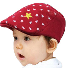 Wholesale Baby Ear Muffs - Retail Unisex Children Star Printed Berets Hats Baby Kids Spring Autumn Cotton Caps Free Shipping MZ2084