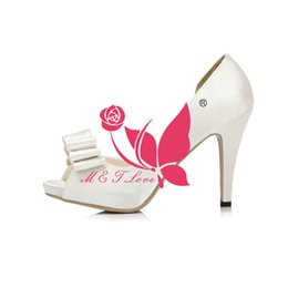Wholesale Bow Pink Peep Toe - Brand New Cheap Shoes White Satin Cut-outs Bridal Shoes Peep Toe Wedding & Party Shoes WS0036W Customise Size 33 to 43