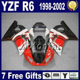 kit de carenagem r6 preto branco Desconto Kit de carenagem para YAMAHA YZF 600 98 99 00 01 02 carenagens vermelho preto branco YZF R6 YZF-R6 1998 - 2002 YZF600 VB69