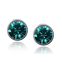 Wholesale Zircon Crystals For Sale - HOT Sales High-Grade Zircon Earrings For Women Austrian Crystal Silver Plated Stud Earrings Fine Jewelry 4142