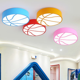 New Round Design Basketball Color Led Ceiling Lights Kindergarten Cartoon  Lamp Children Room Bedroom Light Led Ceiling Lightings Art Lamps
