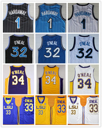 Wholesale Purple Uniforms - Top Quality 1 Penny Hardaway Jersey 32 Shaquille O'Neal Jersey Shaq ONeal Uniform 34 Shaquille O Neal College Basketball Jersey Stripe
