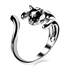 Wholesale Tungsten Steel Price - Hot Sale Stainless Steel Cat Ring Crystals Kitten Free Size For Women Men Hot Sale Factory Price Fashion Top Quality 18K Gold Plated
