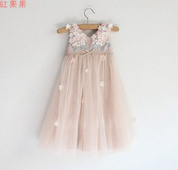 Wholesale high fashion clothing brands - High Grade Girls Crochet Lace Dress Childrens Fashion Clothing Girls Pretty Lace Tulle Flower Princess Dress New Flower Girls Party Dress