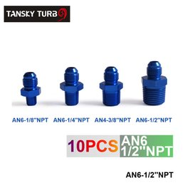 Wholesale Oil Cooler An6 - Tansky - 10pcs unit Oil cooler fitting blue For Universal With No Logo have in stock TK-FITTING AN6-1 2''NPT