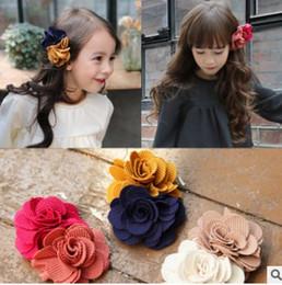 Wholesale Blue Flower Clip - flower hair clip Sweet Korean 2016 New floral bow hair clips Cute flower hair accessories for girls kids hair bows H145