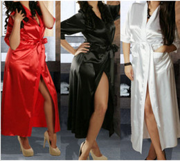 sexy lycra dress Coupons - Sexy Women Long Silk Kimono Dressing Gown Bath Robe Babydoll Lingerie Nightdress